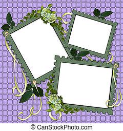 剪貼簿, 頁, 邊框, 植物, 薄