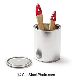 剪, 刷子, 油漆 罐頭, 路徑, 打開