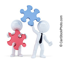 剪, 商業界人士, isolated., concept., 包含, puzzle., 片斷, 配合, 路徑