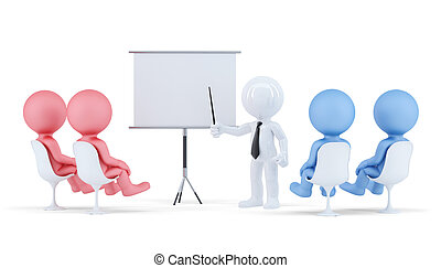 剪, 概念, 商業界人士, isolated., 包含, 場景, board., 路徑, conference.