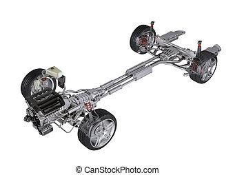 剪, d, 技術, 當代, rendering, 一般, 3, 背景, 汽車。, 遠景, 在下面, 轎車, 白色, path., 車, 看法