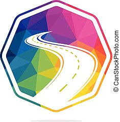 創造性, 旅行, design., 標識語, 路