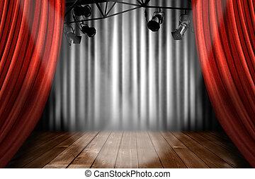 劇院, 顯示, 光, 表現, 聚光燈, 階段