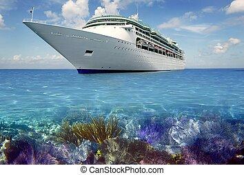 加勒比海, cuise, 假期, 礁石, 小船, 看法