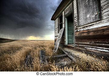 加拿大, 農舍, 被放棄, saskatchewan