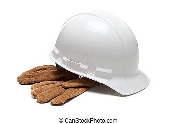 努力, 皮革, 工作手套, 白帽子