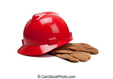 努力, 皮革, 工作手套, 白帽子, 紅色