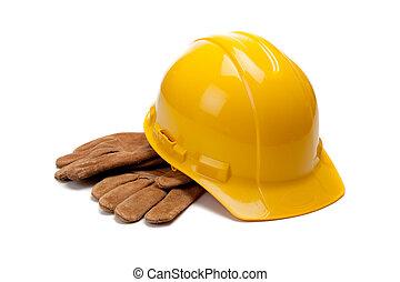 努力, 皮革, 工作, 黃色, 手套, 白帽子