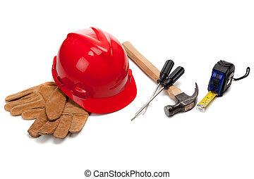 努力, 皮革, 帽子, 工作手套, 白色, 工具, 紅色