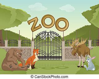 動物, 卡通, 動物園