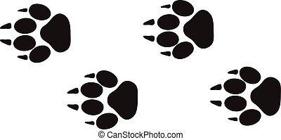 動物, 步驟, vector., 軌道, 腳, 設計, 被隔离, 野生動物, 白色, 追蹤, 列印, 概念