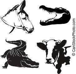 動物, 農場, 插圖, 黑色半面畫像, 矢量, 各種各樣