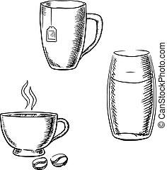 勾畫, 杯子, 茶咖啡, 水玻璃