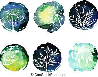 勾畫, botanic, 水彩, 植物, 背景, 卡片