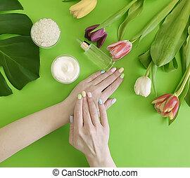化妝品, 紙, 奶油, 上色, 修指甲, 手