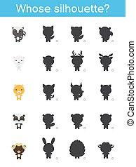 匹配, worksheet., 游戲, 孩子, 卡通, template., illustration., animals., 孩子, 矢量, 邏輯, 黑色半面畫像, 誰的, page., 股票, 教育, 發展, 漂亮, 活動, training., 認為
