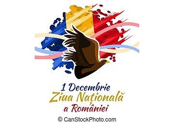 十二月, 聯合, 天, 1, romania., 國家, 矢量, 羅馬尼亞, 偉大, 插圖