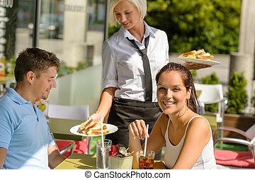 午餐, 食物, 夫婦, 餐館, 帶來, 陽台, 女服務員