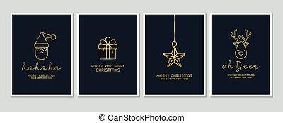 卡片, 問候, 聖誕節, 歡樂, 現代, 字母, 藍色, 元素, 正文, 矢量, 集合, 背景