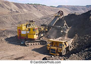 卡車, 大, 採礦, 黃色