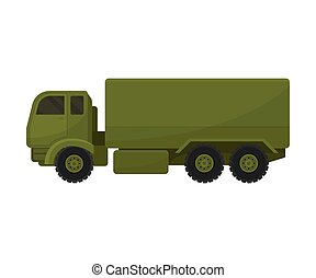 卡車, 大, 插圖, 白色, 軍事, 背景。, 矢量, van.