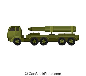卡車, 插圖, 白色, platform., 火箭, 背景。, 矢量