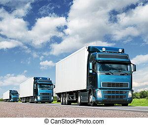 卡車, 運輸, 護航艦隊, 高速公路, 貨物, 概念