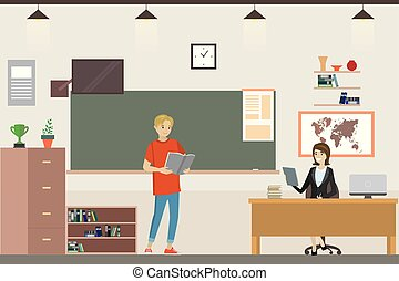卡通, 內部, 學校, 教室