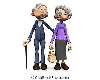 卡通, 年長, 夫婦。