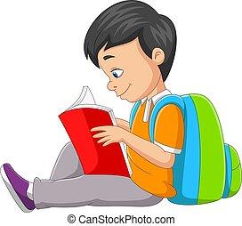 卡通, 書, 男孩, 很少, 閱讀