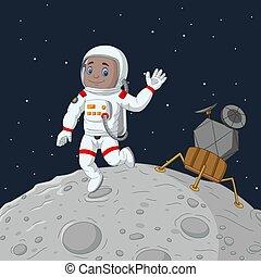 卡通, 男孩, 宇航員, 手, 招手