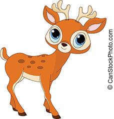 卡通, 美麗, 鹿