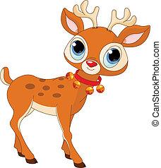 卡通, rudolf, 美麗, 馴鹿