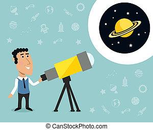 印刷品, 天文學家, 望遠鏡