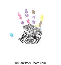 印刷品, 手。, 矢量, 人類, 插圖