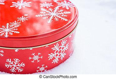 印刷品, 烘烤, 曲奇餅, 雪花模式, 容器, 貨物, 裝飾, 休息, 輪, 錫, 白色紅, snow., 自然, 鋁