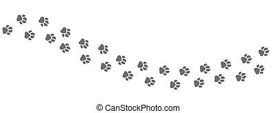 印刷品, 矢量, 或者, 被隔离, 形跡, 小徑, 貓, paws, 狗, 白色 背景, animal.