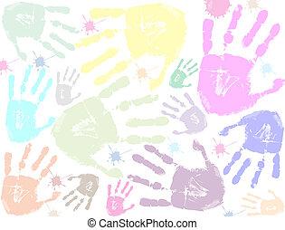 印刷品, 鮮艷, 背景, 手