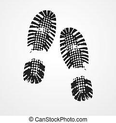 印刷品, icon., 黑色的鞋, vector.