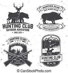印刷術, 矢量, 山, stamp., 打獵, 野豬, 印刷品, 集合, 鹿, 俱樂部, 襯衫, 設計, 尋找, 象征, 戶外, 獵人, 葡萄酒, 槍, badge., 概念, 熊, forest., 冒險