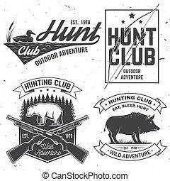 印刷術, 鴨子, 弓, stamp., vector., 打獵, 箭, 野豬, 印刷品, silhouette., 集合, 俱樂部, 襯衫, 設計, 尋找, 象征, 戶外, 葡萄酒, 槍, badge., 概念, 熊, 冒險