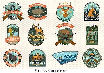 印刷術, stamp., 鴨子, 設計, 鹿, 俱樂部, 獵人, 槍, 戶外, 尋找, 襯衫, 熊, 象征, 矢量, 冒險, 集合, 印刷品, badge., forest., 概念, 野豬, 葡萄酒, 打獵