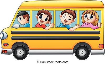 去, 公共汽車, 學校孩子, 卡通