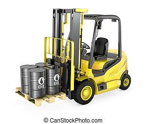 叉子, 桶, 油, 黃色, 四, 舉起, 舉起
