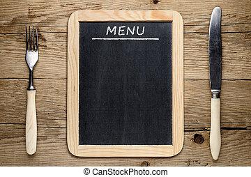 叉子, 老, 木制, 黑板, 菜單, 背景, 刀