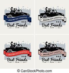 友誼, 朋友, 標識語, 旗幟, 或者, 最好, design.