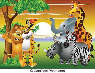 叢林, 動物, 卡通