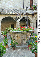 古老, 中世紀, 罐, 水, 花, 坑, 收穫