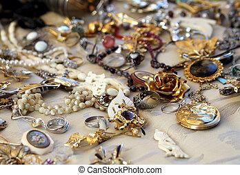 古董店, 珠寶, 葡萄酒, 項鏈, 銷售
