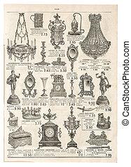 古董店, victorian, 做廣告, objects., retro